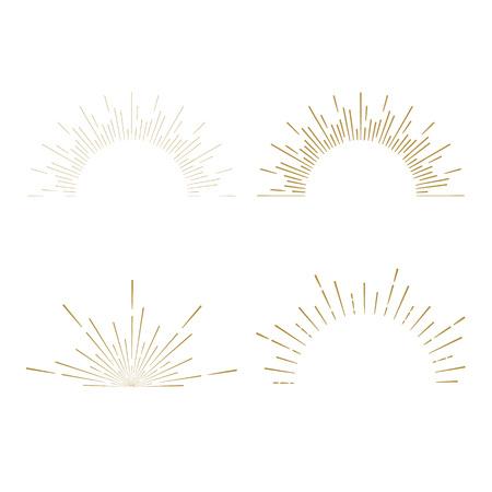 Illustration for Retro Sun burst shapes. Vintage starburst logo, labels, badges. Sunburst minimal logo frames. Vector firework design elements isolated. Sun burst light logo. Minimal vintage gold firework burst icon - Royalty Free Image