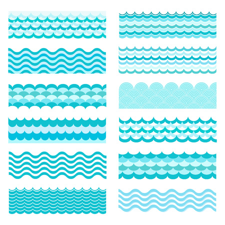 Collection of marine waves. Sea wavy, ocean art water design. Vector illustration. Sea wave pattern. Ocean vector wave texture. Types of water waves. River wave, cartoon pattern.のイラスト素材