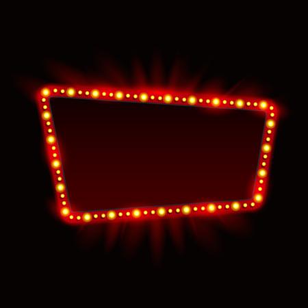 Illustration pour Retro Showtime Sign Design. Neon Lamps billboard on dark background. American advertisement, vector illustration. Cinema and theater Signage Light Bulbs Frame. 1950s Sign Design, Retro Signage, Sale. - image libre de droit