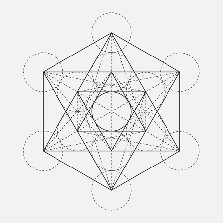 Illustration pour Metatron's Cube. Flower of life. Vector Geometric Symbol isolated. Sacred Geometric Figure named Metatrons Cube. Holy Glyph. Sacred geometry. Sacred Metatron's Cube.  - image libre de droit