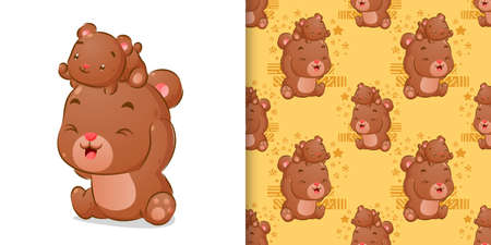 Illustration for The colored hand drawing of the two bears playing together in the seamless pattern set of illustration - Royalty Free Image