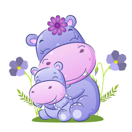 Illustration for The big hippopotamus is sitting behind her baby in the garden of illustration - Royalty Free Image