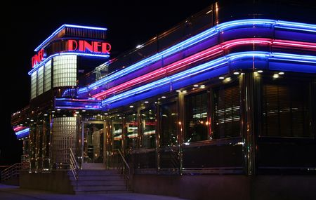 Neon lights on diner light up night