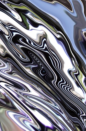 molten chrome metal swirling across page with reflections