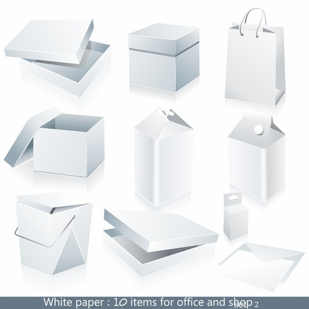 Set of white paper - packaging and stationery elements.
