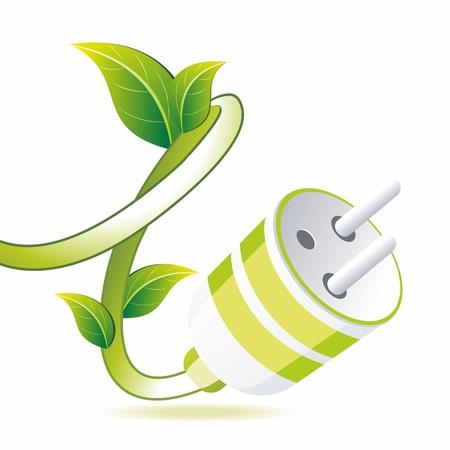 Green plug with leaf on white. Eco symbol.