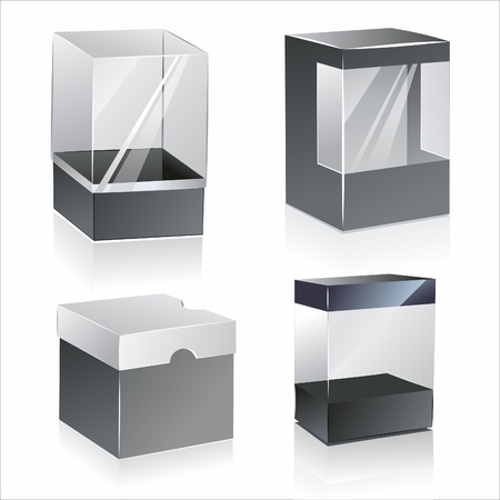 boxes with transparent plastic window. isolated over white background