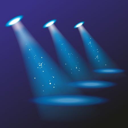 Blue spotlights. Vector illustration.