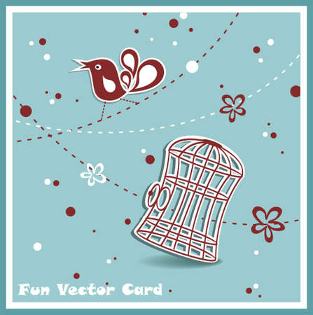 wedding invitation card with a bird cage のイラスト素材