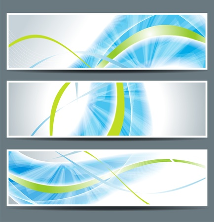 set of three banners, abstract headers with blue linesのイラスト素材