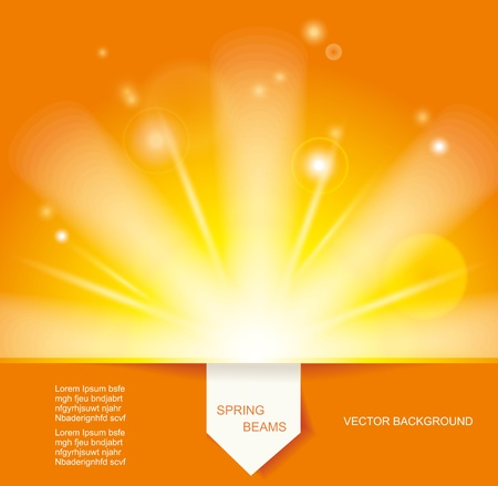 Sun Beams with Orange Yellow Blurred and Paper Sticker