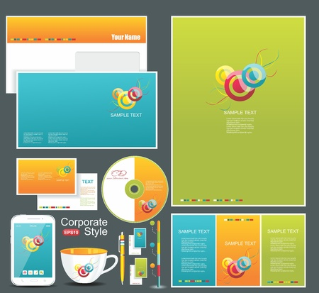 Corporate identity templates blank, business cards, disk, envelope, smart phone, pen, badge, cup
