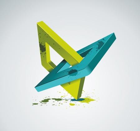 Illustration with orthogonal rhomb symbols Unity concept Vector