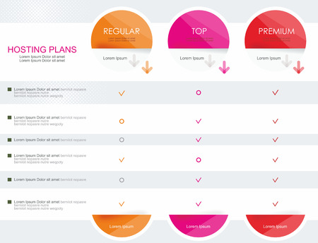 Price list widget with 3 payment plans for online services, pricing table for websites and applications.