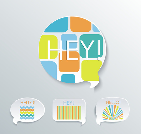 Speech bubbles with different pattern elements.Vector set.