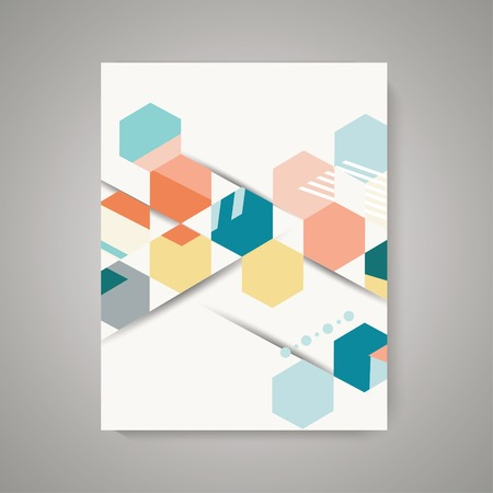 Illustration pour Vector design of Magazine Cover with abstract vintage polygonal hexagon background. Geometric pattern. - image libre de droit