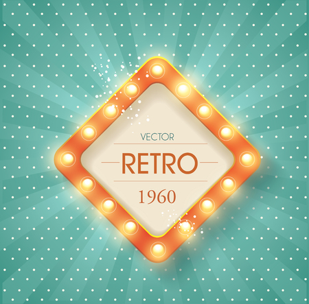 Old  banner with light bulbs. Vector cinema background.