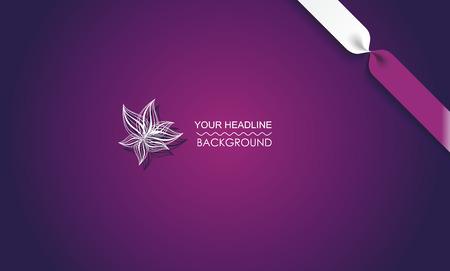 Illustration pour Purple canvas abstract texture background with flower and ribbon. - image libre de droit