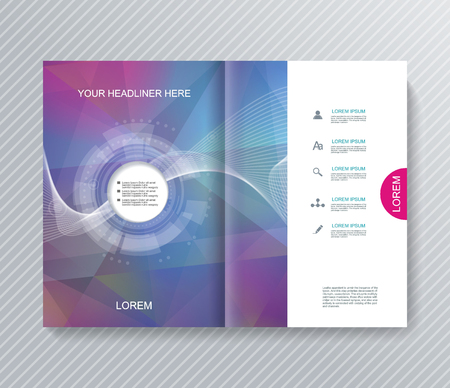 Illustration pour Magazine, Brochure or Flyer design with abstract geometrical polygonal background. - image libre de droit