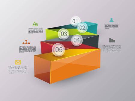 Illustration pour Business stair conceptual design. Can be used for step options, diagram, web design, infographic template. - image libre de droit