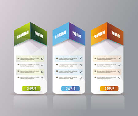 Illustration pour 3 payment plans for online services, pricing table for websites and applications. - image libre de droit
