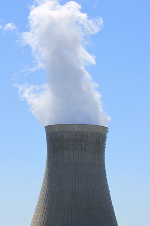 chimney of a nuclear power plant in operation