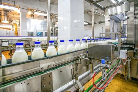 Foto für Milk production at factory. White bottles with blue tops going through conveyer line - Lizenzfreies Bild