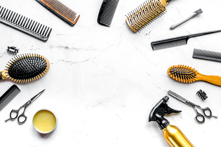 hairdresser working desk with tools on white background top view mock upの写真素材