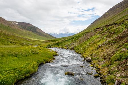 beautiful mountain range and landscape near Dalvik in Iceland.