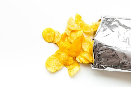 Foto für Potato chips bag ready to eat on white background top view mock up - Lizenzfreies Bild
