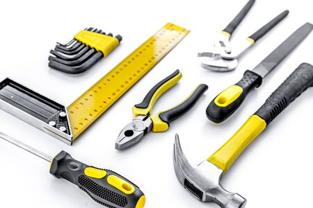 Photo for Tools for repairing top view on white background. - Royalty Free Image