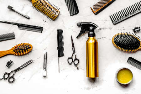 Photo for hairdressing concept with barber tools on white background top view - Royalty Free Image