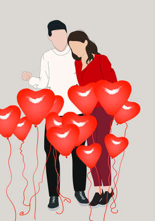 Illustration for Happy young couple with decoration of heart shaped balloons. Valentine's day celebration - Royalty Free Image