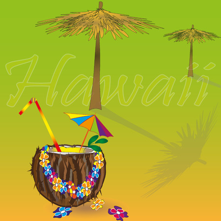 Hawaii vacation illustration Hawaii vacation vivid illustration with sun umbrellas on the beach and coconut cocktail in the foreground to the background inscription Hawaii