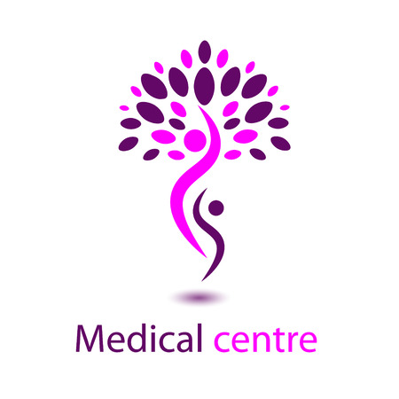 Vektor für Logo of pink medical Centre logo rose tree located on two people with shadow medical symbol - Lizenzfreies Bild