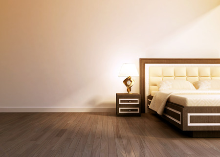 Modern interior room with king size bad.  3D rendering