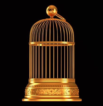 Photo for Golden birdcage isolated over black background - Royalty Free Image