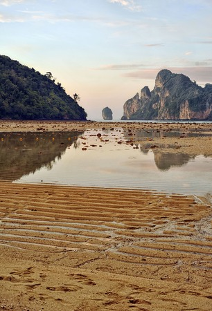 low tide at sunset on Koh Phi-Phi. Shot from the bottom point