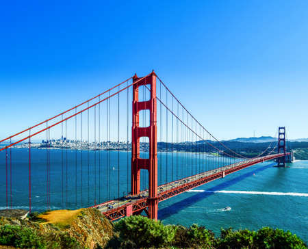 Photo for Red long bridge over the sea bay. The Golden Gate, San Francisco - Royalty Free Image