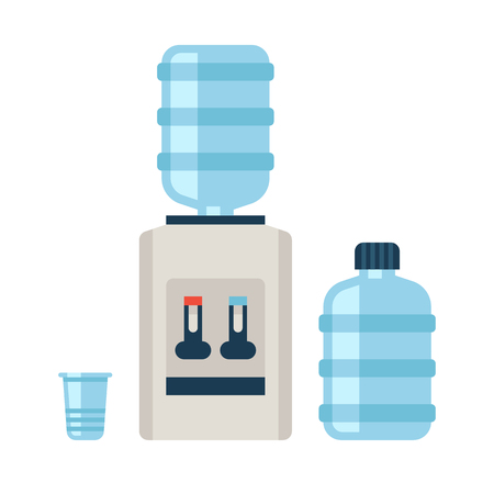Water cooler. Refreshment and bottle office, plastic and liquid. Vector illustration