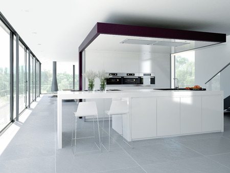 Photo pour a clean modern kitchen interior. design concept - image libre de droit
