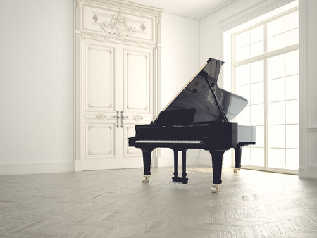 piano in a n empty classic  room.