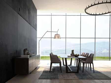 Photo for Modern Design White Dining Room  Interior Architecture - Royalty Free Image