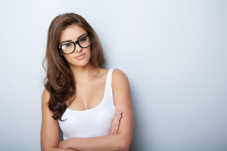 beautyful woman in glasses isolated on whiteの写真素材