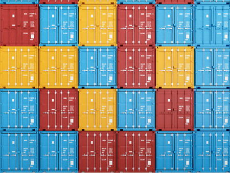 Photo pour many colorful stacked Containers . 3d rendering - image libre de droit