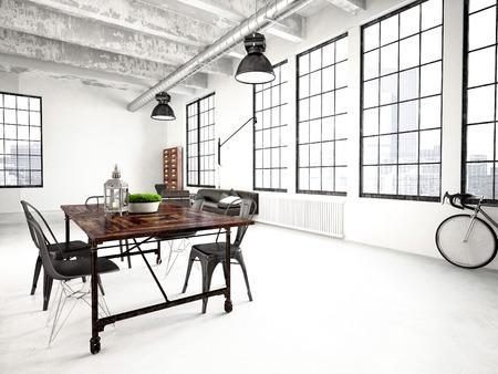3d rendering of a modern industrial style loft