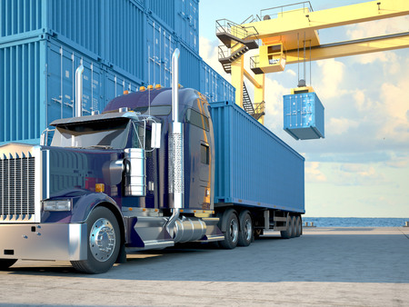 Photo pour Stack of Freight Containers at the Docks with Truck. 3d rendering - image libre de droit