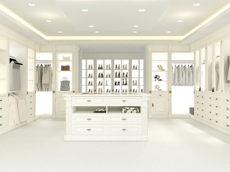 an american luxury walkin closet with many space. 3d rendering