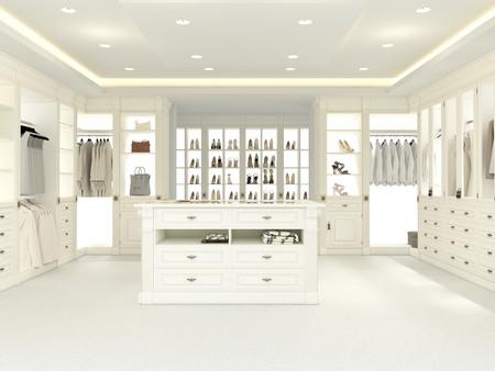 Photo pour an american luxury walkin closet with many space. 3d rendering - image libre de droit