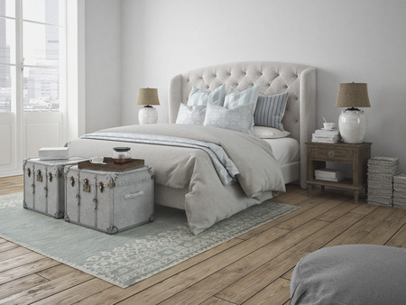 3d rendering. a luxury modern style bedroom.